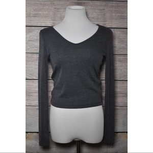 Dark Grey Ribbed Long-sleeve